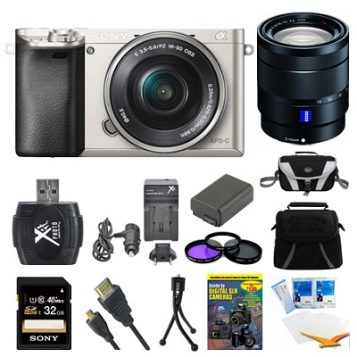 Alpha a6000 Silver Interchangeable Lens Camera, 16-50mm, and 16-70mm Lens Bundle