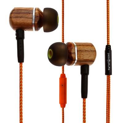 MTRX Premium Genuine Wood In-ear Noise-isolating Headphones w/ Mic Orange Stripe