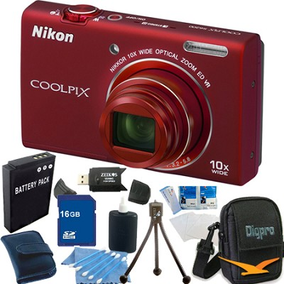 COOLPIX S6200 Red 10x Zoom 16MP Camera 16GB Bundle