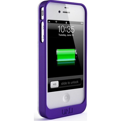 Exera Modular Detachable Battery Case for iPhone 4S 4 - White/Purple