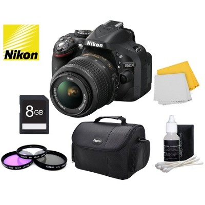 D5200 Digital SLR Kit w/ 18-55mm Lens + Bundle Accessories