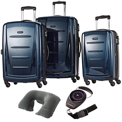 Winfield 2 Fashion Hardside 3 Pcs Spinner Set Deep Blue 56847-1277 w/ Travel Kit