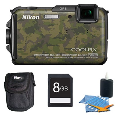 COOLPIX AW110 16MP Water/Shock/Freezeproof (Camo) Digital Camera Plus 8GB Bundle
