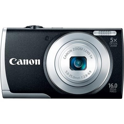 PowerShot A2600 Black 16MP Digital Camera with 5x Optical Zoom, 720p HD Video