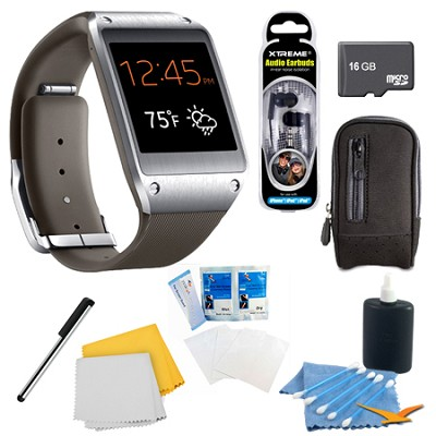 Mocha Gray Galaxy Gear Smartwatch Memory Bundle