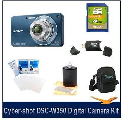 Cyber-shot DSC-W350 14.1 MP Digital Camera (Blue) w/ 4GB Card, Case and More