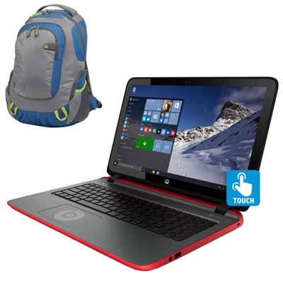 15-p390nr 15.6` Touchscreen Beats AMD Quad-Core A10-7300 Laptop & Sport Backpack