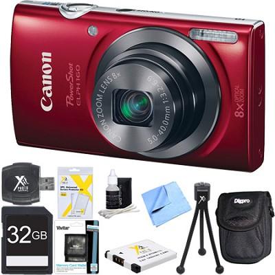 PowerShot ELPH 160 20MP 8x Opt Zoom HD Digital Camera Red 32GB Ultimate Bundle