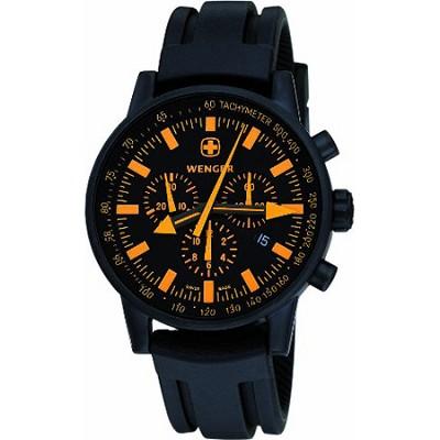 Men's Swiss Raid Commando Watch - Black and Orange Dial/Black Rubber Strap