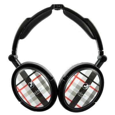Extreme Noise Cancelling Foldable Headphones (Black Plaid) - OPEN BOX