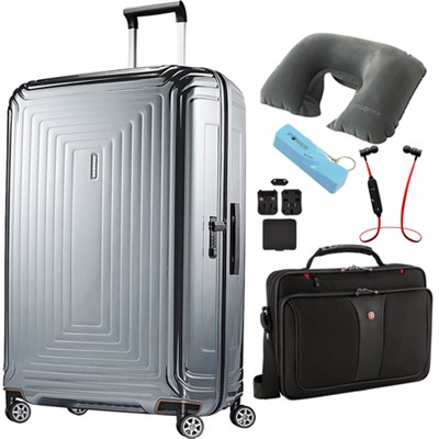 30` Neopulse Hardside Spinner Luggage Metallic Silver Ultimate Travel Bundle