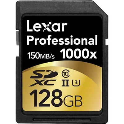 128GB Professional 1000x SDHC/SDXC Class 10 UHS-II Memory Card Up to 150 MB/s