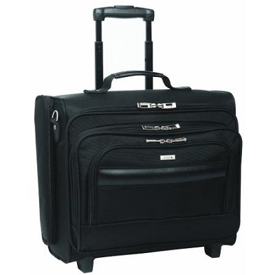 Dual-Access Rolling Overnighter Laptop Case, Black, 15.6`