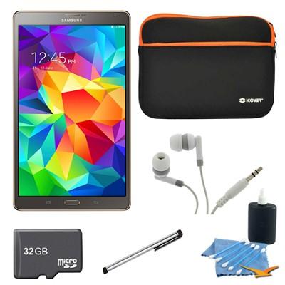 Galaxy Tab S 8.4` Tablet - (16GB, WiFi, Titanium Bronze) 32GB Accessory Bundle