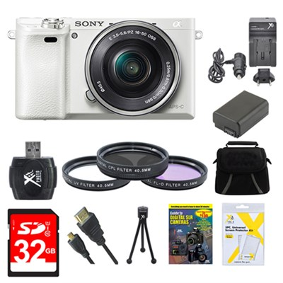 Alpha a6000 White Camera with 16-50mm Power Zoom Lens 32GB Kit