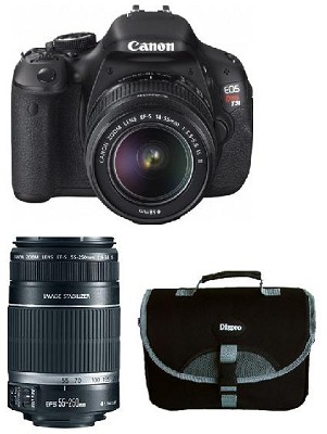 EOS Digital Rebel T3i 18MP SLR Camera 18-55mm & 55-250mm Photo Enthusiast Bundle