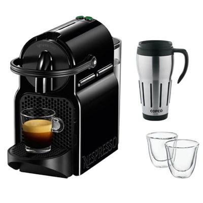 Inissia Espresso Maker, Black w/ Thermo Espresso Glasses & Thermal Travel Mug