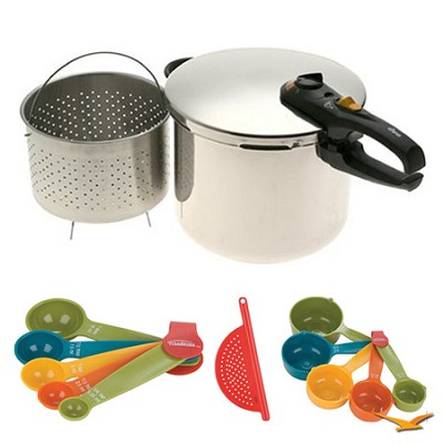 Duo 10 Qt. Stainless Steel Pressure Cooker, Measuring Sets and Drainer Bundle