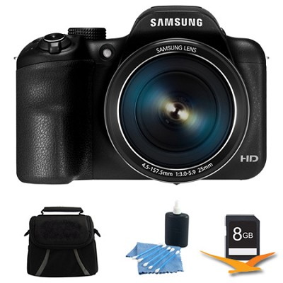 WB1100F 16.2MP 720p HD Video Smart Digital Camera Black 8GB Kit