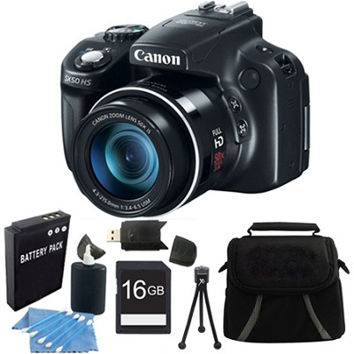Powershot SX50 HS 50x Zoom High-Performance Camera 16GB Bundle