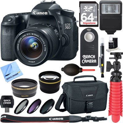 EOS 70D CMOS DSLR Camera w/EF-S 18-55mm F3.5-5.6 IS STM Memory & Flash Kit