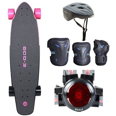 E-GO 2 Electric Skateboard - Hot Pink with Safe Skater Bundle