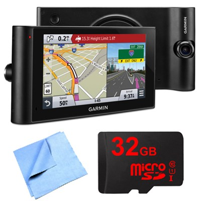 dezlCam LMTHD 6` GPS Truck Navigator w/ Dash Cam 32GB Micro SD Card Bundle
