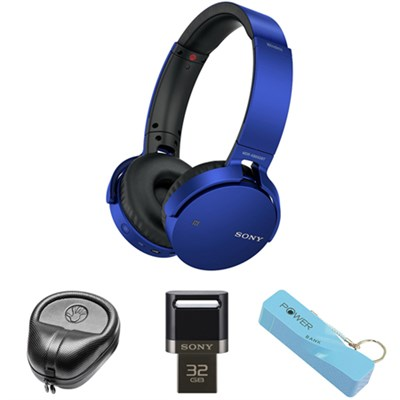 XB Series Wireless Bluetooth Headphones w/ Extra Bass-Blue w/ Flash Drive Bundle