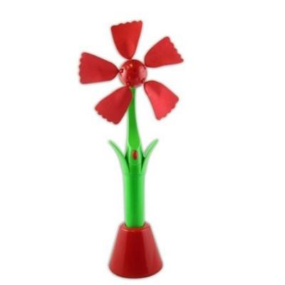 Red Flower Desktop or Handheld Fan Powered by USB or (2) AA batteries