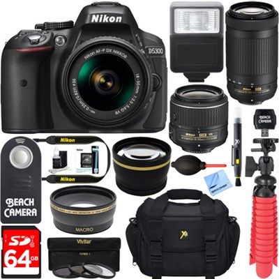 D5300 DSLR Camera w/ AF-P DX 18-55mm & 70-300mm Zoom Lens 64GB Accessory Bundle