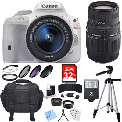 EOS Rebel SL1 Digital SLR Camera White with 18-55mm and 70-300mm Lens Bundle