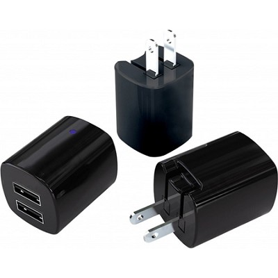 Dual USB 2.1A Folding Blade Travel Charger - Black