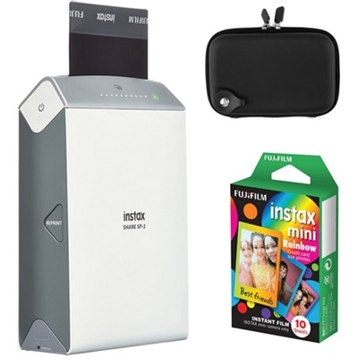Instax Share Smart Phone Printer SP-2 w/ Carrying Case + Rainbow Instant Film