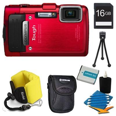 TG-830 iHS STYLUS Tough 16 MP 1080p HD Digital Camera Red 16GB Kit