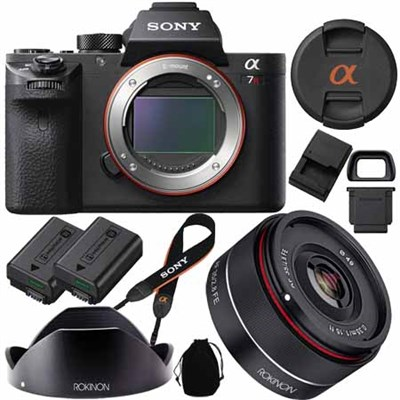 a7R II Full-frame Mirrorless 42.4MP Camera  with Rokinon 35mm f/2.8 FE Lens Kit