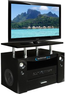 TS-32 TV Stand With Built In Speakers - Amplifier Woofer Mid and Tweeter