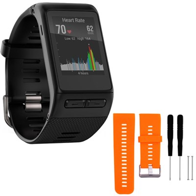 vivoactive HR GPS Smartwatch  XL Fit Black w/ Silicone Band Strap + Tools Orange