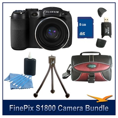 FinePix S1800 + 8GB Card + Card Reader + Case + Mini Tripod and More