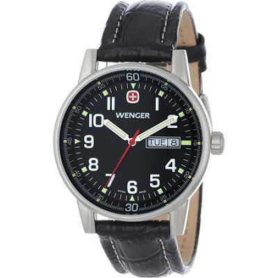 Men's Commando Day Date XL Watch - Black Dial/Black Leather Strap
