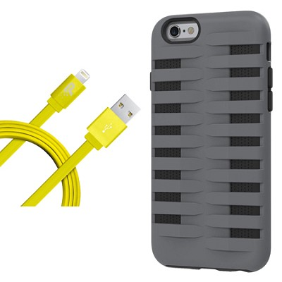 Cobra Apple iPhone 6 Silicone Dual Protective Case - Black/Grey Starter Bundle