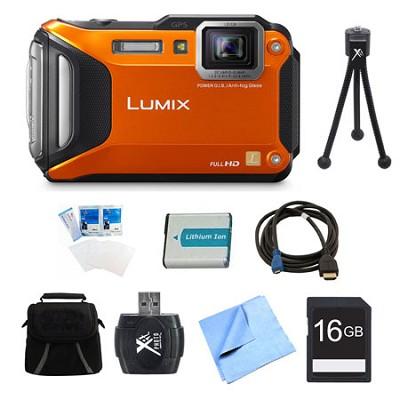 LUMIX DMC-TS6 WiFi Tough Orange Digital Camera 16GB Bundle