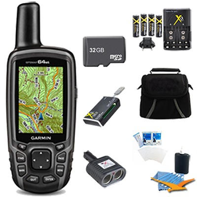 GPSMAP 64st Worldwide Handheld GPS BirdsEye + US Maps 32GB Accessory Bundle