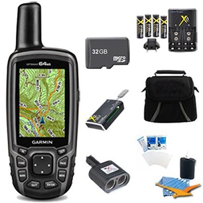 GPSMAP 64st Worldwide Handheld GPS BirdsEye + US Maps 32GB Accessory Bundle