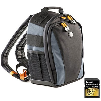 Jazz 83 Photo/iPad Backpack (Black/Multi) Includes Lexar 32GB Memory Card