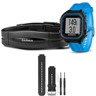 Forerunner 25 GPS Fitness Watch w/ Heart Rate Monitor Large Blue - Black Bundle