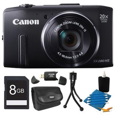 PowerShot SX280 HS Black Digital Camera 8GB Bundle