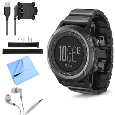 fenix 3 Multisport Training GPS Watch Sapphire Wrist Strap Kit Bundle
