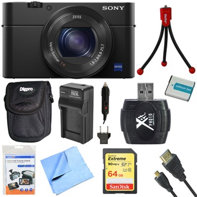 DSC-RX100M IV Cyber-shot Digital Still 20.1 MP 1` Sensor Camera 64GB Card Bundle