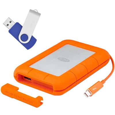 Rugged Thunderbolt Mobile Hard Drive w/Integrated Cable 250GB w/Flash Drive