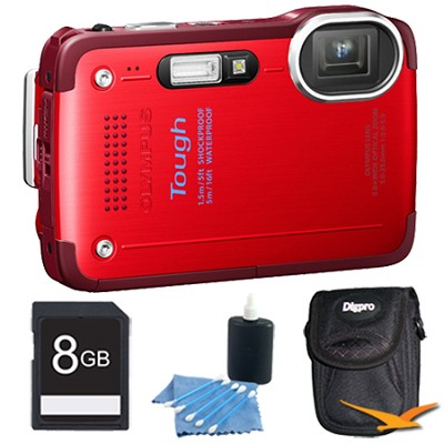 STYLUS TG-630 12MP 3-inch LCD 1080p HD Digital Camera Red with 8GB Kit